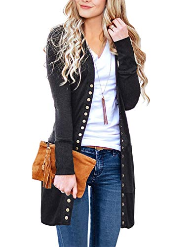 MEROKEETY Women's Long Sleeve Snap Button Down Solid Color Knit Ribbed Neckline Cardigans Charcoal