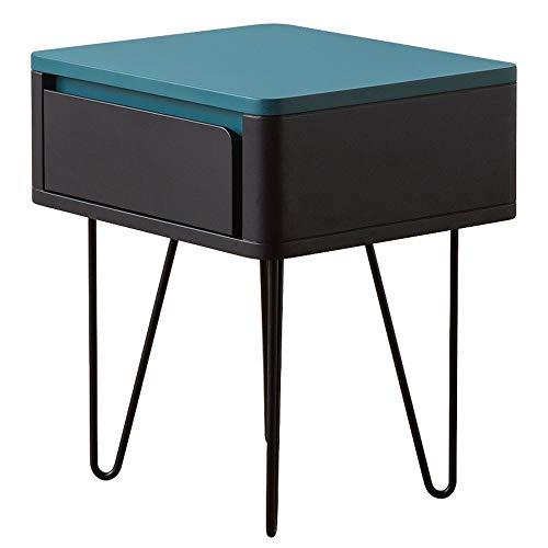 AJMINI moderne industriële eindtafel met lade, nachtkastje salontafel voor woonkamer slaapkamer, eenvoudige montage