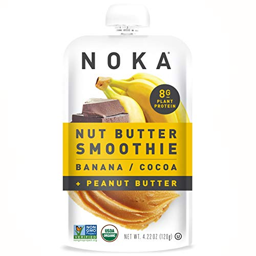 NOKA Nut Butter Smoothie Pouches (Banana Cocoa Peanut Butter) 6 Pack | 100% Organic Fruit And Nut Butter Squeeze Packs | Non GMO, Gluten Free, Vegan, 8g Plant Protein | 4.22oz Each (Best Banana Cream Pie Recipe Paula Deen)