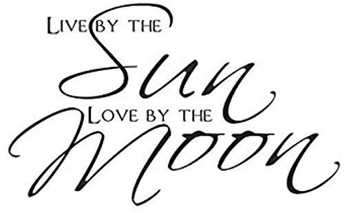 Live by Sun Love by Moon Home Waterproof Quote Art Wall Decals Decor Vinyl Sticker SK14252 (w35 h21)