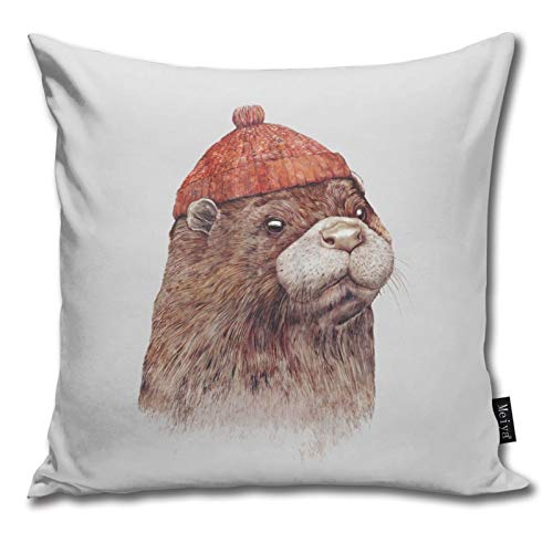 QUEMIN River Otter Farmhouse Decorative Pillowcases 18'x 18' for Couch Decorations