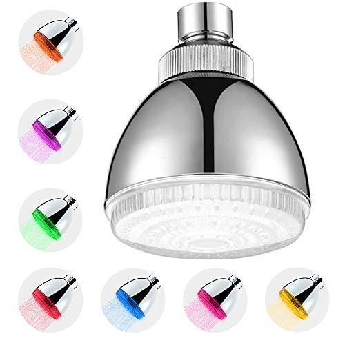 Fixed LED Shower Head 7 Color Light, Automatically Changing...