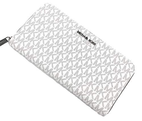 Michael Kors Large Travel Logo Signature Zip Around Wallet - Bright White
