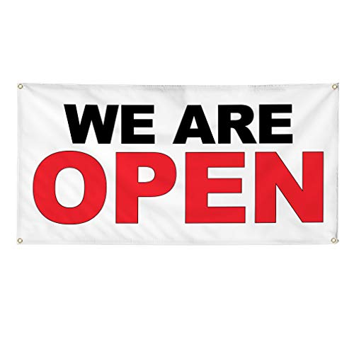 Vinyl Banner Multiple Sizes We are Open Black Red Business Outdoor Weatherproof Industrial Yard Signs 4 Grommets 12x30Inches