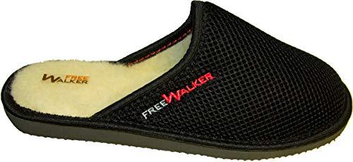 FreeWalker ® AIR | Innen: 100% Schafwolle | Damen Hausschuhe | Warme & Atmungsaktive Pantoffeln für Wohlgefühl Closed|Schwarz|Wolle| 39 EU