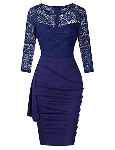 HiQueen Lace Pencil Dress for Women Solid 3/4 Length Midi Business Dress Navy L