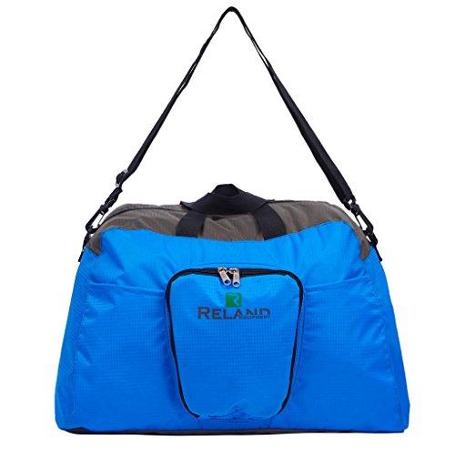 Reland Borsone pieghevole da viaggio borsa da palestra sportiva (Blu)