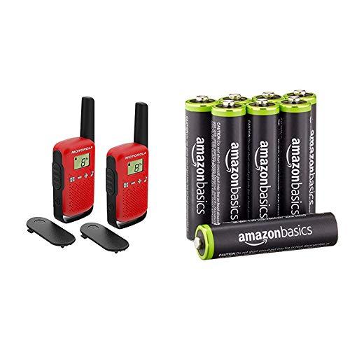 Motorola Talkabout T42 PMR-Funkgeräte (2er Set, PMR446, 16 Kanäle, Reichweite 4 km) rot & Amazon Basics Vorgeladene Ni-MH AAA-Akkus - Akkubatterien 8 Stck (Äußere Hülle kann von Darstellung abweichen)