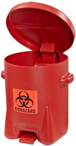 Eagle 943BIO Biohazardous Waste Polyethylene Safety Can with Foot Lever, 6...