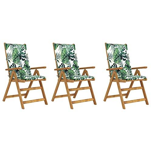 vidaXL 3X Akazienholz Massiv Gartenstuhl Klappbar mit Auflagen Hochlehner Holzstuhl Gartenstühle Klappstuhl Stühle Gartenmöbel Stuhl