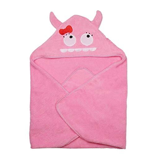 Toalla de baño con capucha para niños, suave y cómoda, absorción de agua, suministro para bebés(pink, Monster)