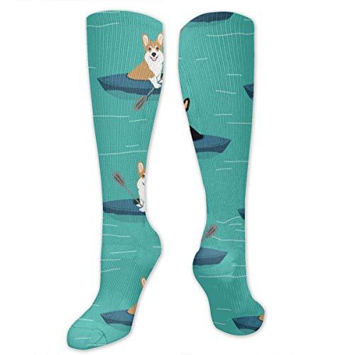 Corgi Tri and Red Kayaks 3 Calcetines de compresión graduados hasta la rodilla para mujeres y hombres Los mejores calcetines de viaje y vuelo de enfermería médica Running & Fitness 50CM