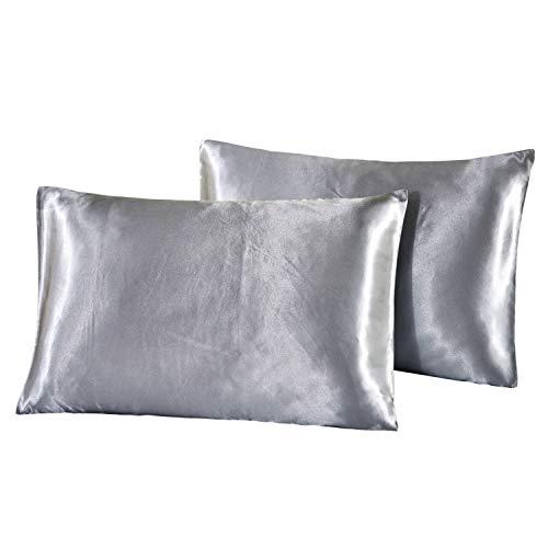 HONGCI Lot de 2 taies d'oreiller en satin - Taies d'oreiller unies en microfibre pour cheveux et peau - Douces, anti-plis et résistantes aux taches - Fermeture enveloppe standard