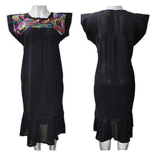 Vestido de Manta Negro -TALLA GRANDE- Bordado a Mano. (Embroidery Mexican Dress). Vestido Artesanal. Oaxaca. HECHO EN MEXICO *L*