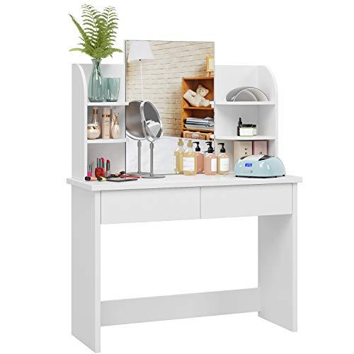 Homfa Tocador con Espejo Mesa de Maquillaje Tocador de Dormitorio con 2 Cajones 4 Estantes Blanco 107x40x142cm