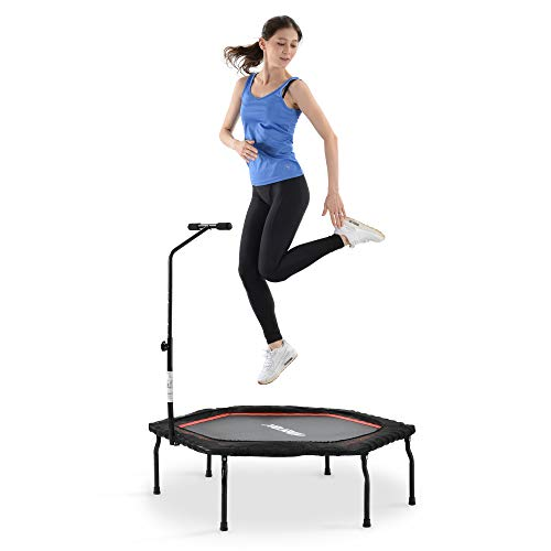 Merax Fitness Trampoline with T-shaped Height-Adjustable Bar, Max. Load 120 kg, Diameter 127 cm, Trampoline for Jumping Fitness(RED)