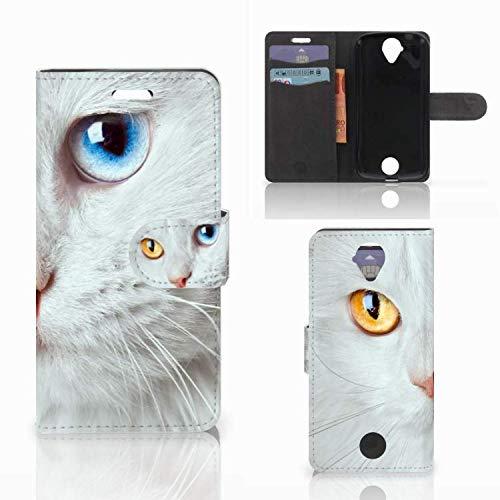 B2Ctelecom Schutzhülle kompatibel für Acer Liquid Z330 Lederhülle Weiße Katze - Personalisierung mit Ihrem Wunschnamen oder -tekst