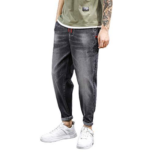 Jeans para Hombre Verano Nueva Tendencia Tallas Grandes Harlan Jeans Loose Stretch Jeans Rectos de Nueve Puntos S