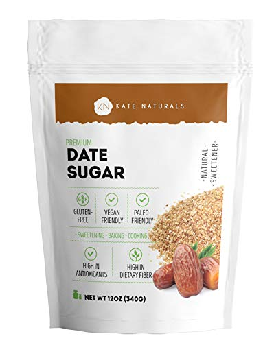 Fresh Date Sugar for Baking and Cooking (12oz) - Kate Naturals. Vegan, Gluten-Free, Paleo-Friendly. Delicious Sugar Alternative. Large Resealable Bag (12oz)