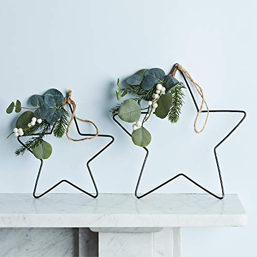 Lights4fun 2er Set Metall Sterne zum Aufhängen Weihnachtsdeko 28 und 20cm