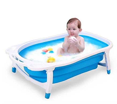 Kairos Baby Folding Bath Tub Collapsible Portable Dog Pet Shower Tub (Blue)