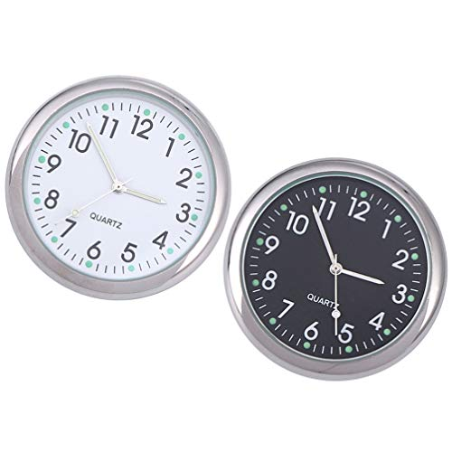 IMIKEYA 2pcs Car Clocks Stick-On Car Dashboard Clocks Luminous Quartz Analog Watch Universal Digital Clock for Car Boat Bike, White and Black