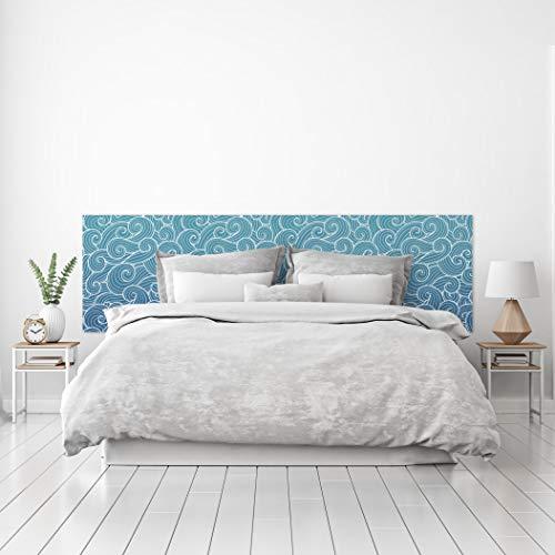 MEGADECOR Cabecero Cama PVC Decorativo Económico Diseño de Olas Estilo Papel Pintado Japonés Fondo Azul Varias Medidas (150 cm x 60 cm)