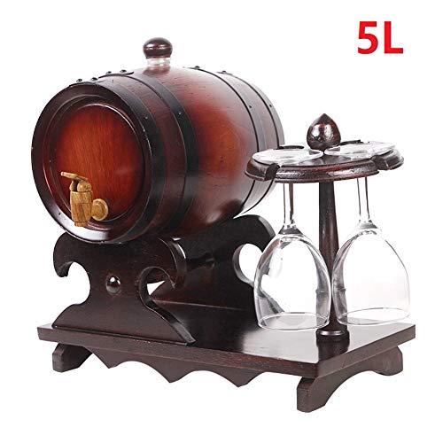 XWDQ Dekorative Weinregal 5L Eichenfass Holzfass für Lagerung oder Alterung Wein und Spirituosen Wein-Fässer Wein-Halter,A2