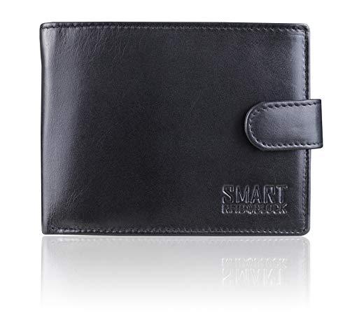 Portafoglio Uomo Pelle Blocco RFID - Orizzontale Grande Nero Vera Pelle - Porta Carta D'IDENTITA + 8 portacarte + portamonete - SM-905PBL Koruma