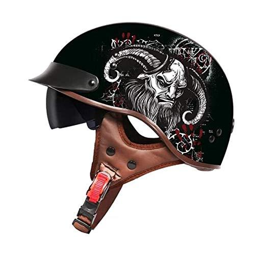 HYRGLIZI Retro Casco de Motocicleta,Casco Moto Abierto,Moto Cascos de La Bici del Casco del Viaje del Crucero Bicicleta,Dot Homologado