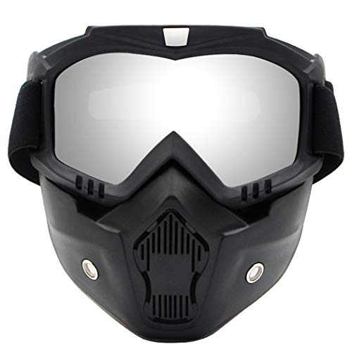 WJJ Mascarilla De Mortorcicle, Casco Moto Mascarilla Mascarilla Anti-UV Ski Ski Ski Snowboard Mask Mascarilla Cara con Gafas De Ojo Desmontable, Gafas De Mercurio