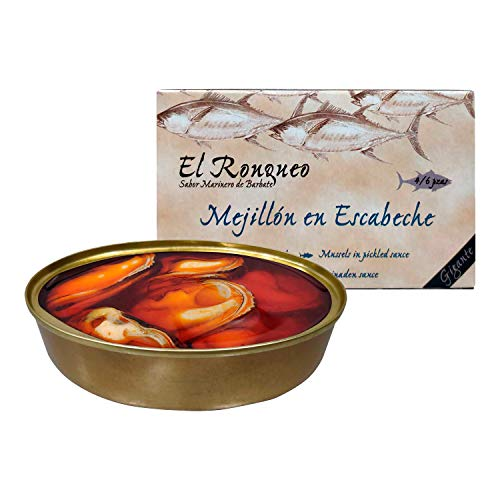 Mejillones en Escabeche Gigantes (4/6 piezas) de 120 gramos (OL120) | Conservas de pescado El Ronqueo | Conserva de marisco gourmet elaborada en Barbate (España)