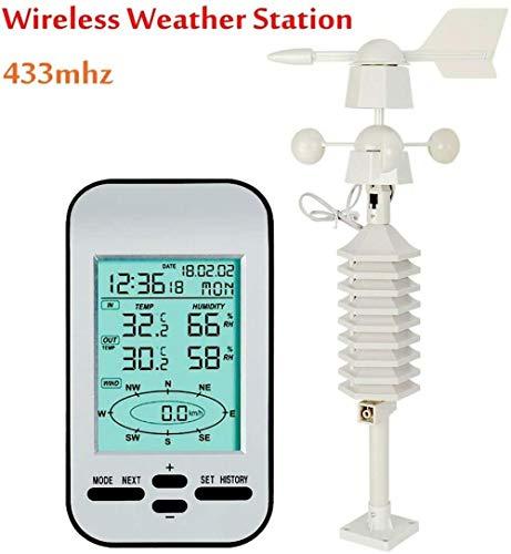 PKLFQQA Reloj Despertador Medidor inalámbrico de Temperatura y Humedad Multifuncional pequeña estación meteorológica doméstica Instrumento meteorológico Mini pronóstico del Tiempo