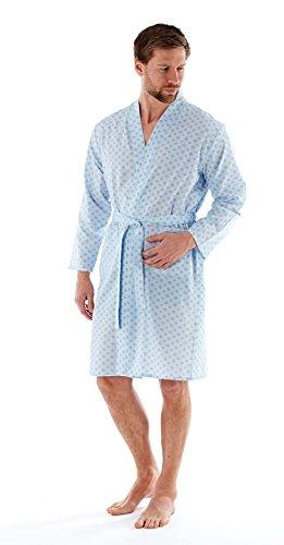 Harvey James Mens Woven Poly Katoen Kimono Wrap M-2XL donker of lichtblauw