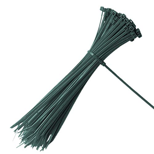 KINGLAKE 100 Piezas 200 x 3 mm Abrazaderas de Cable de jardín con Cierre automático Planta Verde Lazos de Nylon Ajustables Lazos de Cremallera Multiusos