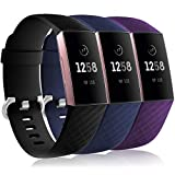Wepro Waterproof Bands Compatible with Fitbit Charge 4 / Charge 3 / Charge 3 SE for Women Men, 3-Pack Replacement Wristbands for Fitbit Charge 3 / Charge 4, Small, Black, Navy Blue, Plum