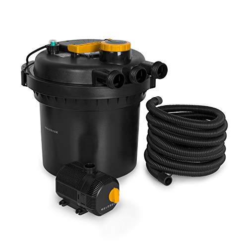 Waldbeck Aquaklar Teichdruckfilter-Set, 11 Watt UV-C Klärer, 35 Watt Tauchpumpe mit 10 m Kabel, für Teiche mit/ohne Fische bis 3000/6000 l, inkl. 5 m Verbindungsschlauch, Filterleistung: 9000 l/h
