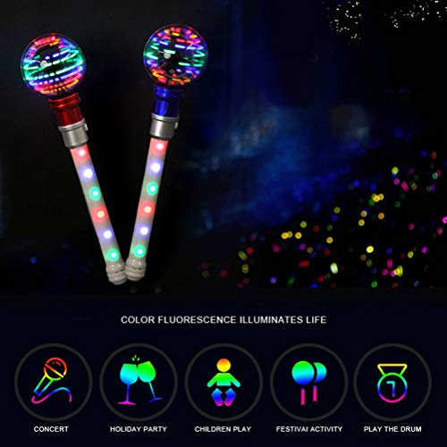 Kohyum Handheld LED Drehstab Zauberstäbe Spielzeug 16 LED Drehstab Blinkend Leuchtstab Kinderspielzeug
