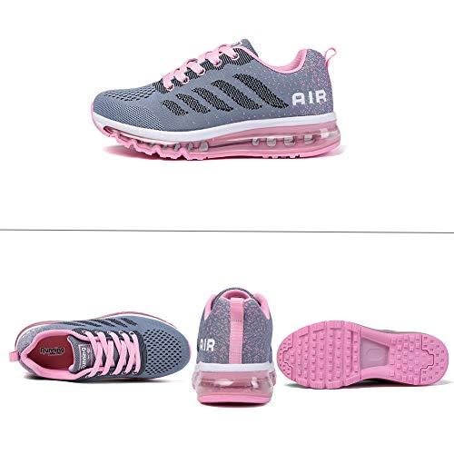 Zapatillas Hombre Deportivas de Mujer Zapatos Running Fitness Gym Outdoor Sneaker Casual Mesh Transpirable Comodas graypink 40