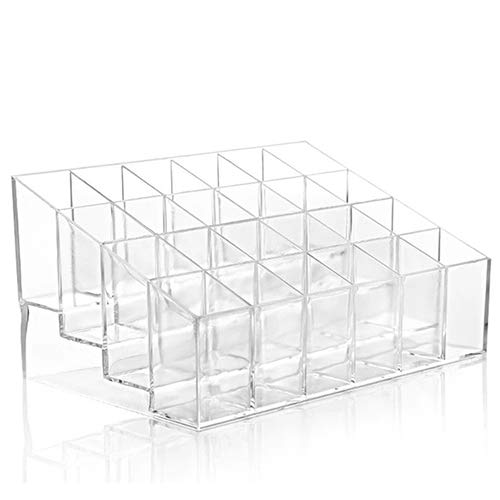 NAttnJf Clear Acrylic 24 Lipstick Holder Display Stand Cosmetic Organizer Makeup Case