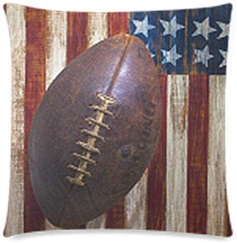 Divertida y duradera funda de cojín con diseño vintage de fútbol americano en bandera americana, funda de almohada decorativa cuadrada con cierre de cremallera invisible, 18 x 18 pulgadas, impresión de una cara