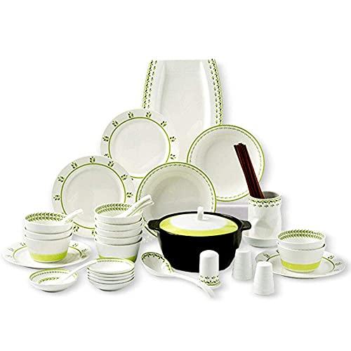 Juego de vajilla de porcelana para 10 personas, juego de platos de cena de 46 piezas, apto para uso diario u ocasiones formales, apto para lavavajillas y microondas, regalo de boda para inaugurac