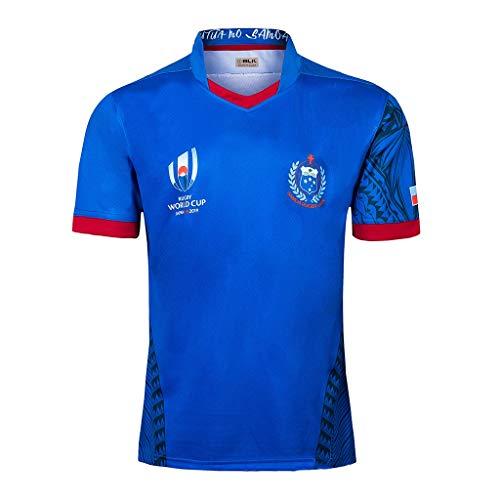 Pavilion Rugby Jersey Samoa Trikot Mannschaft Zuhause Kurz Ärmel 2019 Japan Welt Tasse Ventilator Ausbildung Atmungsaktiv Hemden (Size : L)