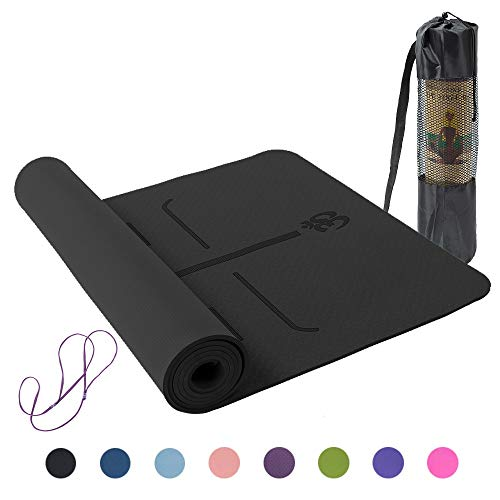Lixada Yogamatte rutschfeste TPE Gymnastikmatte für Fitness Pilates mit Positionslinie mit Tragegurt und Tasche 183 * 61 * 0,6 cm