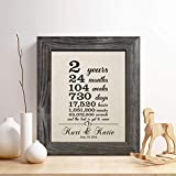 Personalized 2nd Cotton Anniversary Gift for Him or Her, 2 Years and Counting Cotton Print