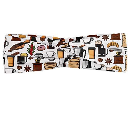 ABAKUHAUS Koffie Hoofdband, Moka Pot French Press Donut, Elastische en Zachte Bandana voor Dames, voor Sport en Dagelijks Gebruik, Veelkleurig