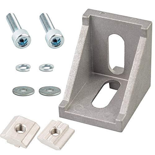 4er Set L-Form Eckverbinder Winkelverbinder Winkel 3030 30x30 mit Zubehör Schrauben Nutensteine Federscheibe Unterlegscheibe für 30 mm Konstruktionsprofile