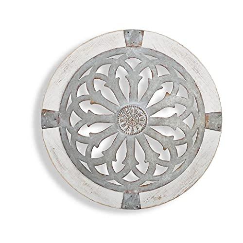 finebrand Ronda Arte Decoración De La Pared Reloj En Forma De Ornamento Colgante con El Patrón Floral para La Decoración del Hogar Regalo Style3 Crafts