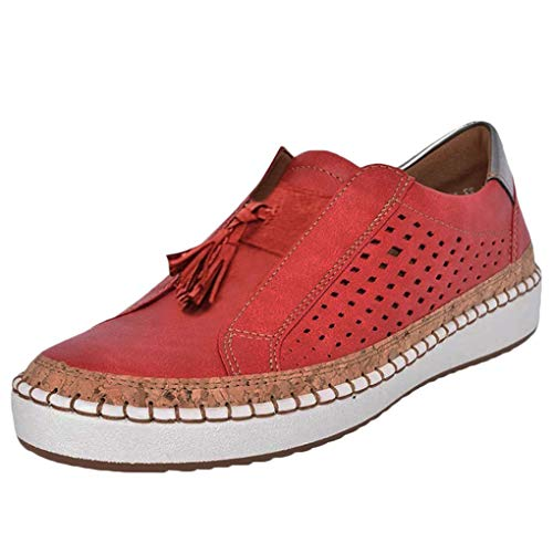 Sportschuhe für Damen/Dorical Frauen Slip on Sneakers, Casual Hohle-Heraus Round Toe Schuhe, Bequeme Sneaker Slipper, Halbschuhe,Sportlich Flats Damenschuhe(Z02-Rot,42 EU)