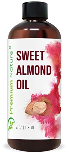 Sweet Almond Oil Carrier Oil - Cold Pressed Pure Natural Body Massage Oils for Essential Oils Mixing, Baby Oil Dry Skin Face Moisturizer Eye Makeup Remover Healthy Nails 4 oz Packaging May Vary